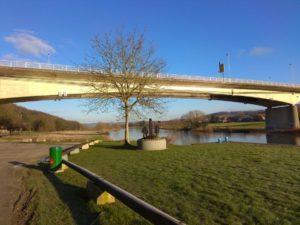 Weserbrücke Vlotho vom Wohnmobilstellplatz aus